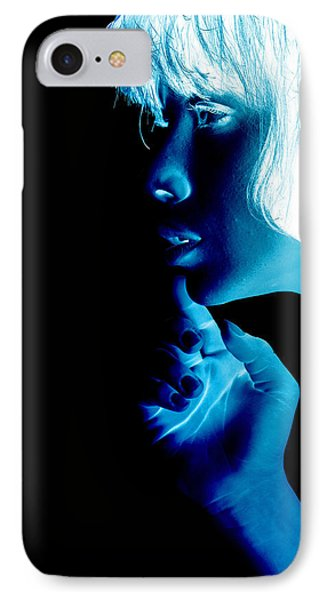 Inverted Realities - Blue  IPhone Case by Serge Averbukh
