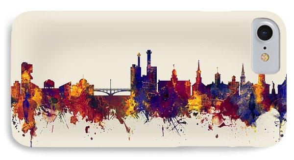 IPhone Case featuring the digital art Iowa City Iowa Skyline by Michael Tompsett