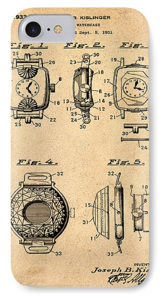 J B Kislinger Watch Patent 1933 Red IPhone Case
