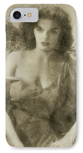 Jane Russell Hollywood Actress IPhone Case by Frank Falcon
