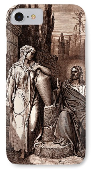 Jesus And The Woman Of Samaria IPhone Case by Gustave Dore
