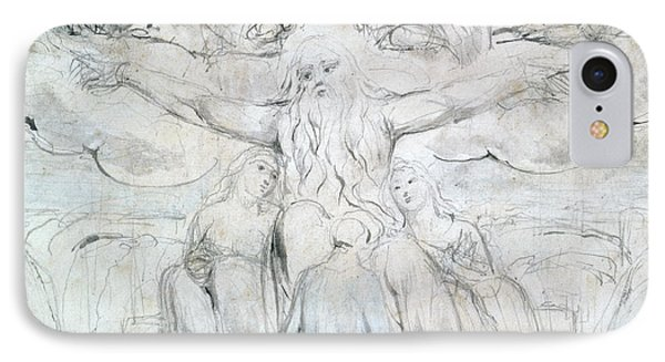 Job And His Daughters  IPhone Case by William Blake