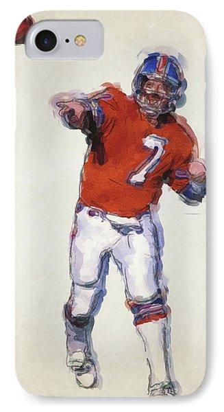 John Elway Denver Broncos Art IPhone Case by Joe Hamilton