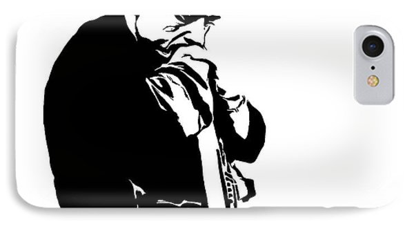 Johnny Cash Black And White IPhone Case by Dan Sproul