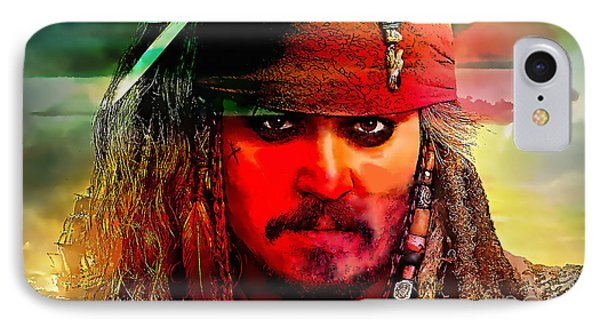 Johnny Depp Painting IPhone Case by Marvin Blaine