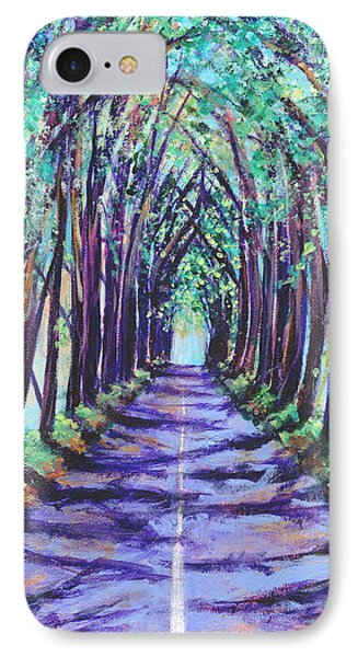 IPhone Case featuring the painting Kauai Tree Tunnel by Marionette Taboniar