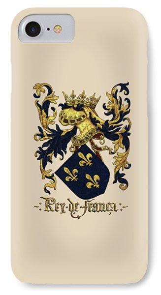 King Of France Coat Of Arms - Livro Do Armeiro-mor  Phone Case by Serge Averbukh