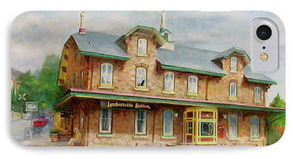 IPhone Case featuring the painting Lambertville Inn by Oz Freedgood
