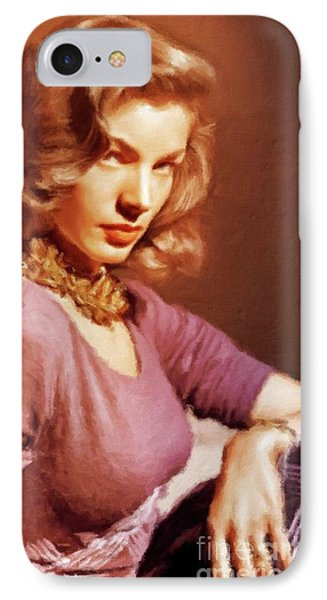 Lauren Bacall Vintage Hollywood Actress IPhone Case by Mary Bassett