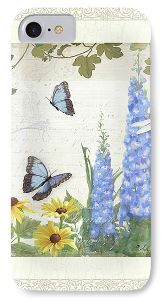 IPhone Case featuring the painting Le Petit Jardin 1 - Garden Floral W Butterflies, Dragonflies, Daisies And Delphinium by Audrey Jeanne Roberts