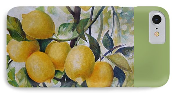 IPhone Case featuring the painting Lemons by Elena Oleniuc