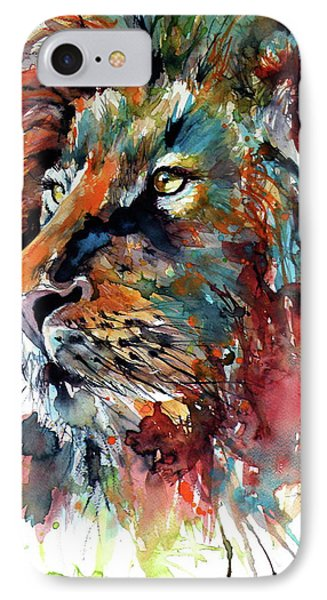 IPhone Case featuring the painting Lion by Kovacs Anna Brigitta