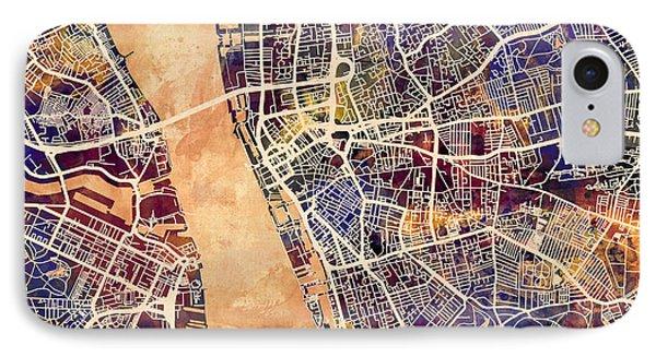 Liverpool England Street Map IPhone Case by Michael Tompsett