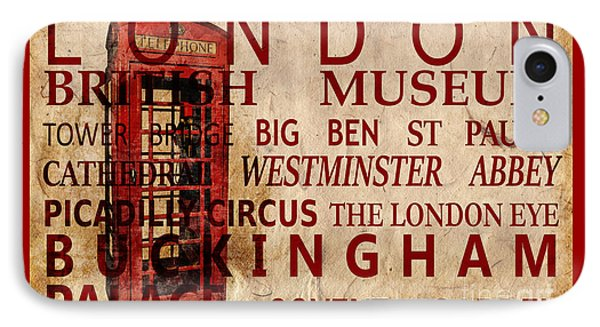London Eye iPhone 7 Case - London Vintage Poster Red by Delphimages Photo Creations