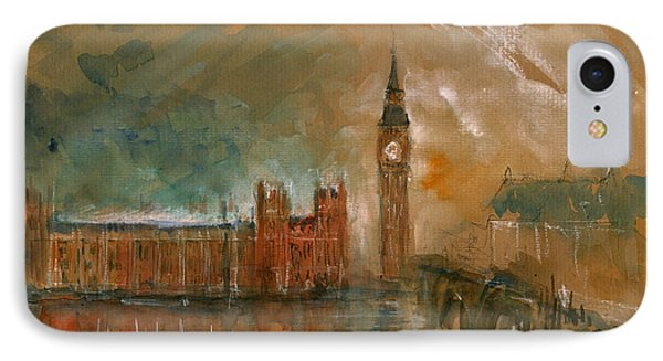 London Watercolor Painting IPhone Case