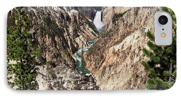 Lower Falls From Artist Point In Yellowstone National Park Phone Case by Louise Heusinkveld