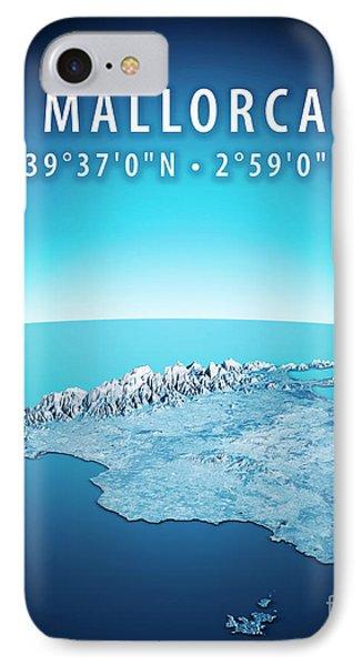 Mallorca Island 3d Render Satellite View Topographic Map Vertica IPhone Case by Frank Ramspott