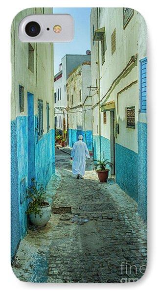 Man In White Djellaba Walking In Medina Of Rabat IPhone Case by Patricia Hofmeester