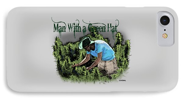 Man With A Green Hat IPhone Case by Joseph Juvenal