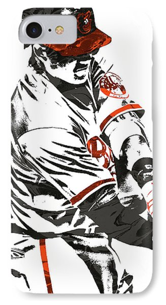 Manny Machado Baltimore Orioles Pixel Art IPhone Case by Joe Hamilton