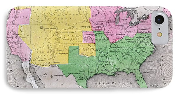 Map Of The United States Phone Case by John Warner Barber and Henry Hare
