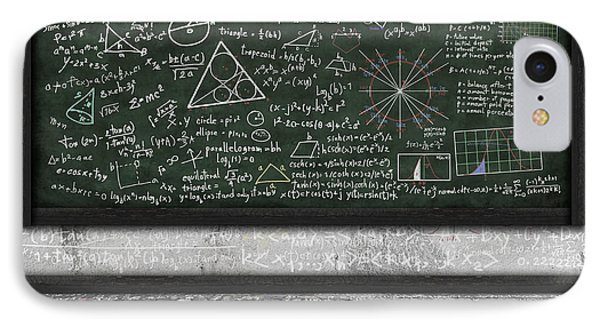 Maths Formula On Chalkboard IPhone Case by Setsiri Silapasuwanchai