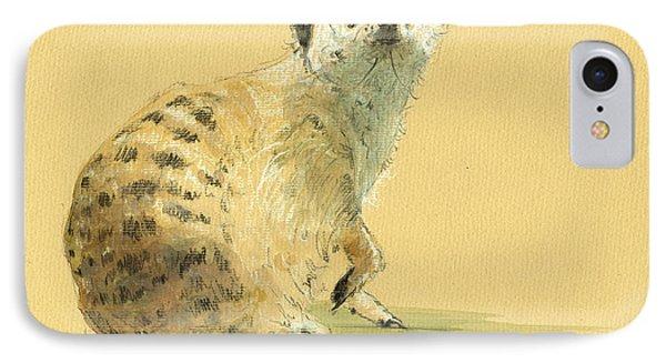 Meerkat Or Suricate Painting IPhone Case by Juan  Bosco
