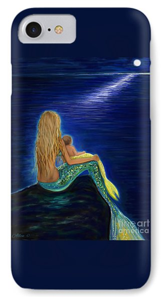 IPhone Case featuring the painting Mermaids Sweet Babies Moon by Leslie Allen