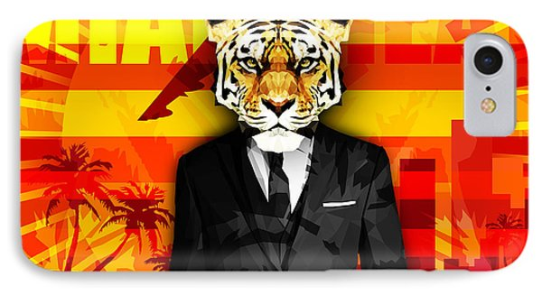 Miami Tiger IPhone Case by Gallini Design