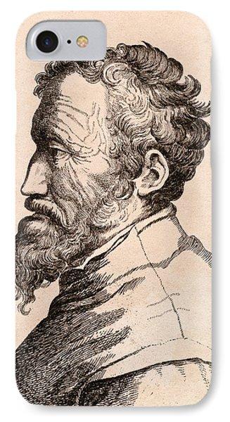 Michelangelo Di Lodovico Buonarroti IPhone Case by Vintage Design Pics
