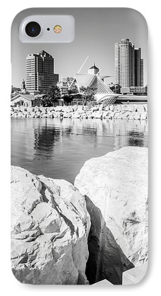 Milwaukee Skyline Black And White Picture IPhone Case by Paul Velgos