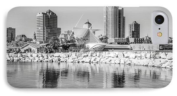 Milwaukee Skyline Photo In Black And White IPhone Case by Paul Velgos
