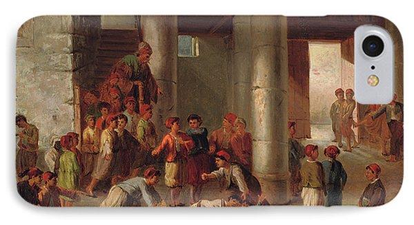 Mischief In The Schoolyard IPhone Case by Julius Joseph Gaspard Starck