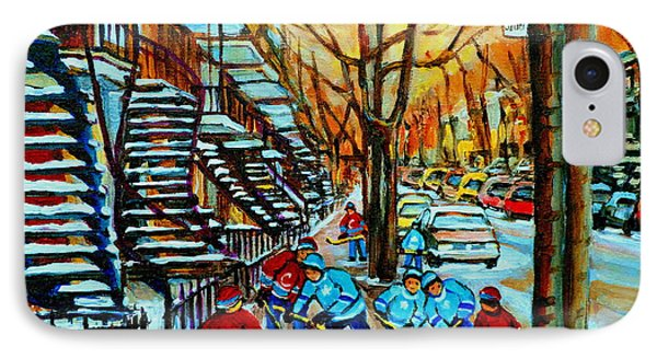 Montreal Hockey Paintings Phone Case by Carole Spandau