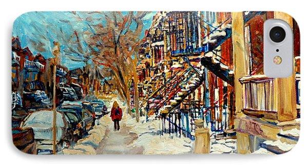 Montreal Street In Winter Phone Case by Carole Spandau