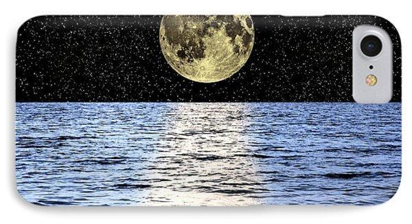 Moon Over The Sea, Composite Image IPhone Case by Victor de Schwanberg