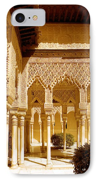 Moorish Architecture In The Nasrid Palaces At The Alhambra Granada Phone Case by Mal Bray