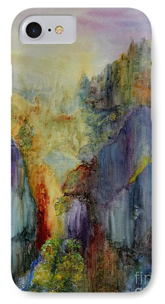 IPhone Case featuring the painting Mountain Scene by Karen Fleschler