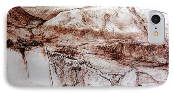 IPhone Case featuring the drawing Mountains In Snowdonia by Harry Robertson