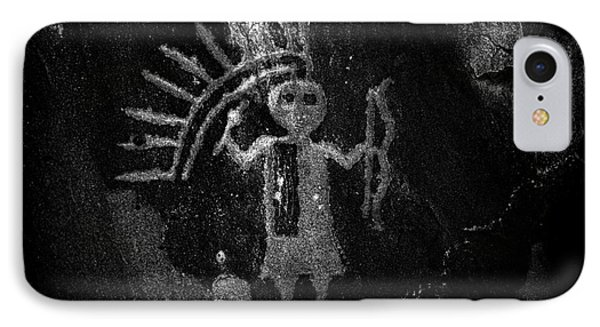 Native American Warrior Petroglyph On Sandstone Bw IPhone Case