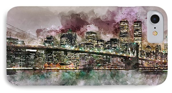 New York City Skyline Watercolor  IPhone Case by Jon Neidert