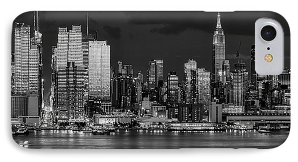 IPhone Case featuring the photograph New York City Skyline Pride Bw by Susan Candelario