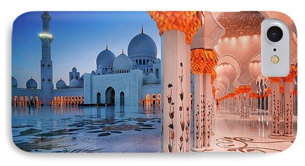 Night View At Sheikh Zayed Grand Mosque, Abu Dhabi, United Arab Emirates IPhone Case