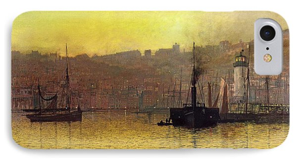 Nightfall In Scarborough Harbour IPhone Case by John Atkinson Grimshaw