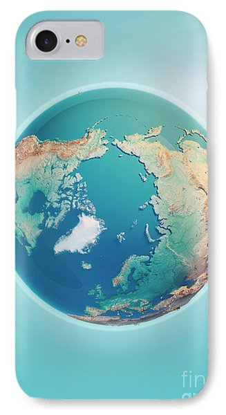 North Pole 3d Render Planet Earth IPhone Case by Frank Ramspott