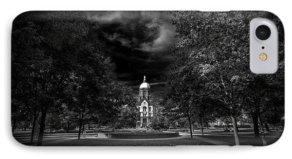 IPhone Case featuring the photograph Notre Dame University Black White by David Haskett