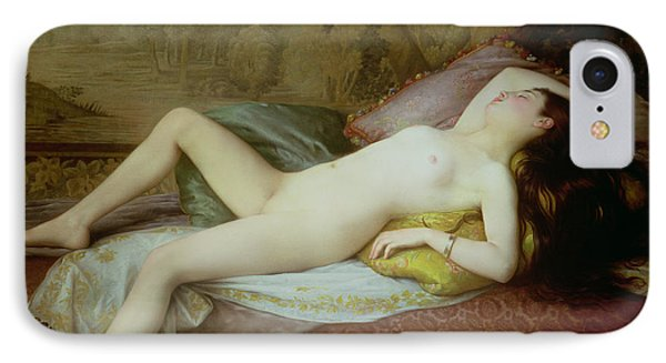 Nude Lying On A Chaise Longue IPhone Case by Gustave-Henri-Eugene Delhumeau