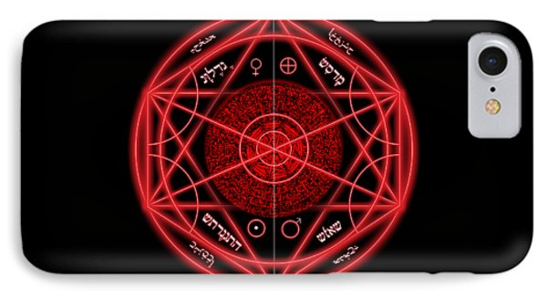 Occult Magick Symbol On Red By Pierre Blanchard Phone Case by Pierre Blanchard