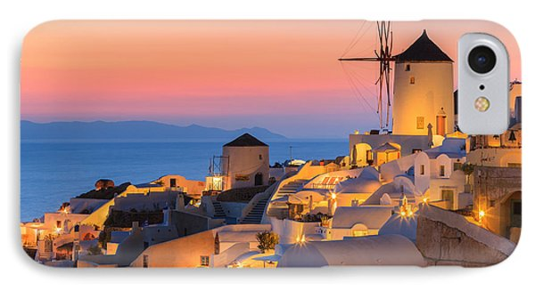 Oia On Santorini At Sunset IPhone Case by Henk Meijer Photography