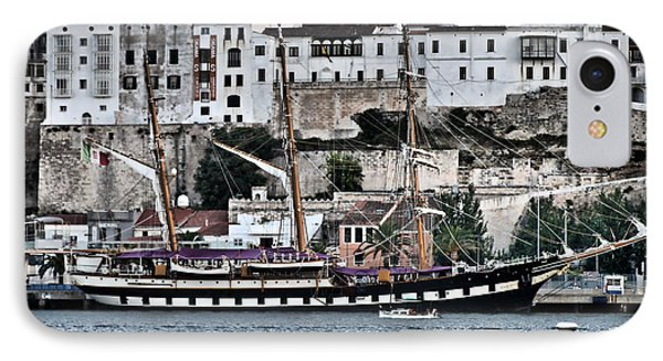 Old Port Mahon And Italian Sail Training Vessel Palinuro Hdr IPhone Case